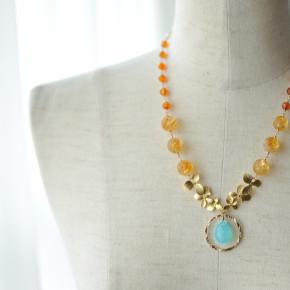 人気だったシーブルー×オレンジのネックレス&ピアス